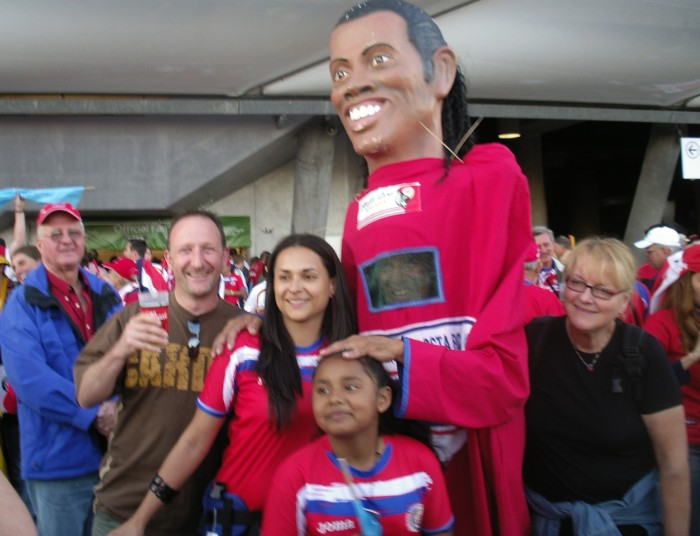 My butty Vince meets Ronaldinho at the World Cup opening game in Munich