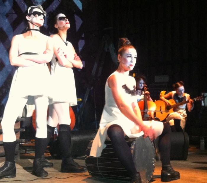 Garenetska on guitar in the Dakh Daughters show
