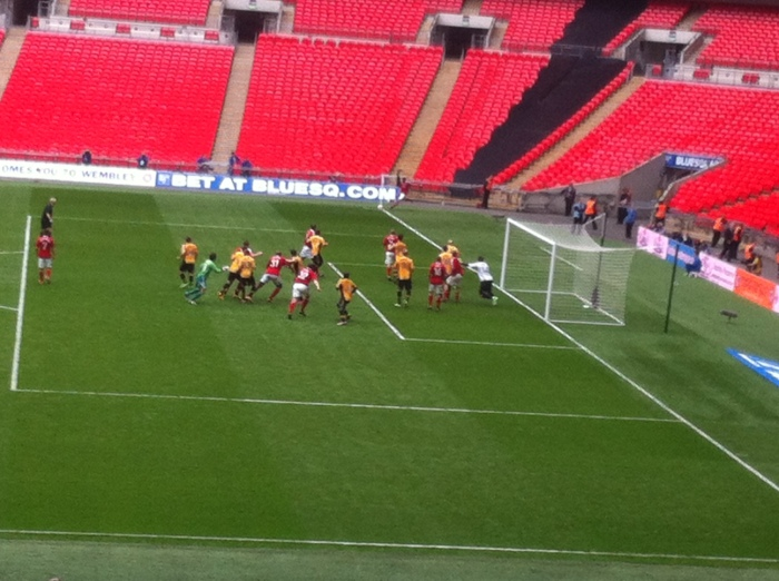 Keeper Maxwell goes up for a last-ditch Wrexham corner