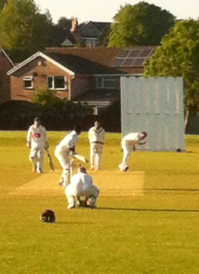 We got back in time to see the firsts clinch a thrilling five win over Gymkhana firsts. Here, Lewis Clarke charges in during an over late on