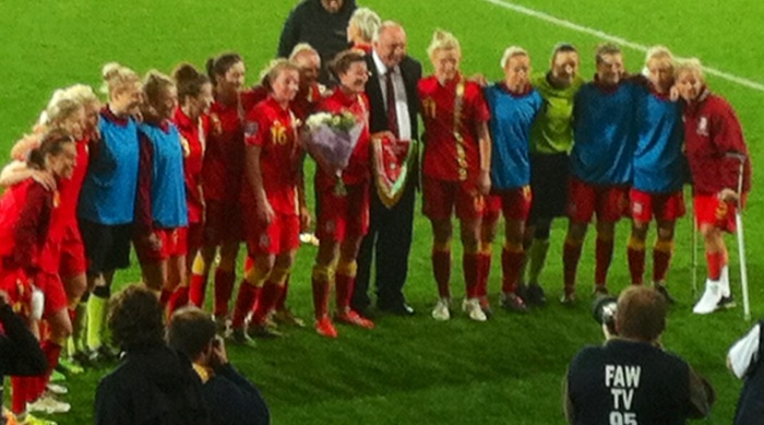 Helen Ward was given a bouquet to mark her 50th game for Wales