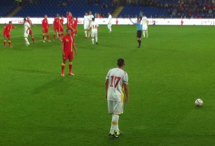 Wales defend a free-kick