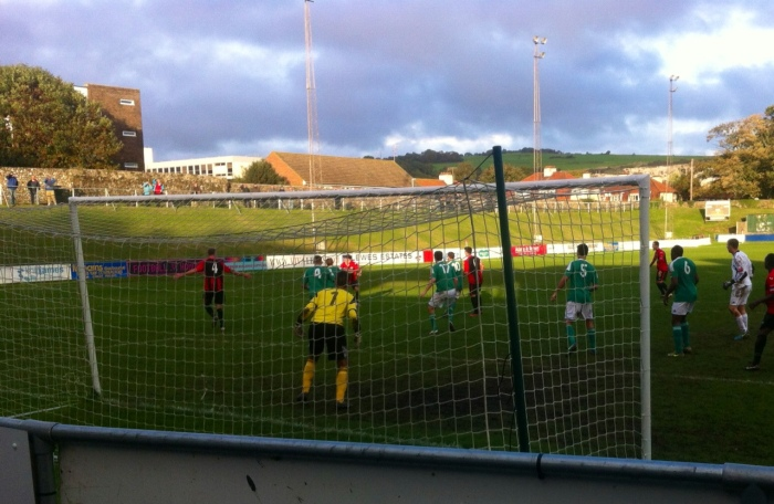 Goalmouth action seconds before Lewes hit the post in added time