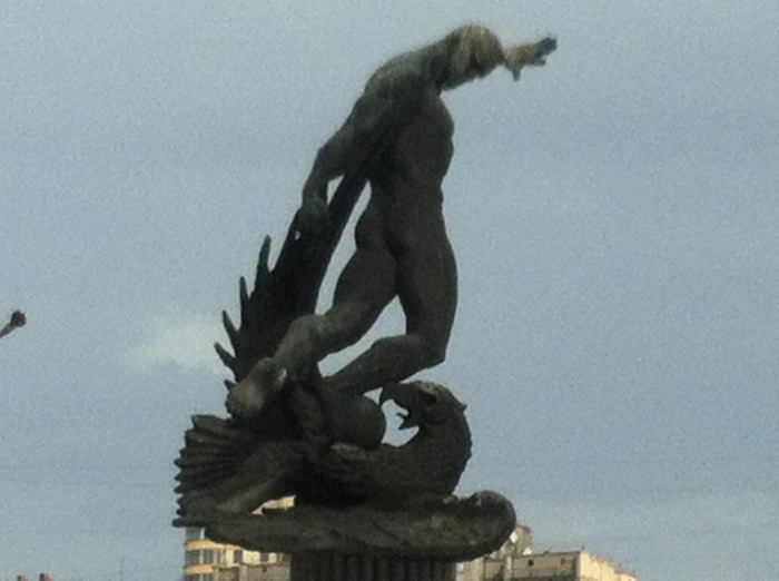 Death Match Stadium statue, Kyiv. The German eagle is depicted underneath a Soviet figure