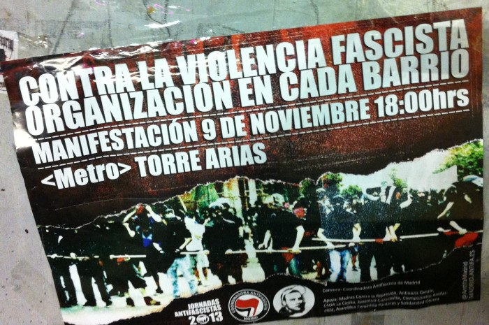 Poster at the game advertising an anti-fascist rally
