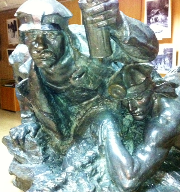 Sculptureof miners in the Regional Museum in Donetsk