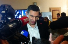 Boxer and possible presidential candidate Vitali Klitchko meets the press last month