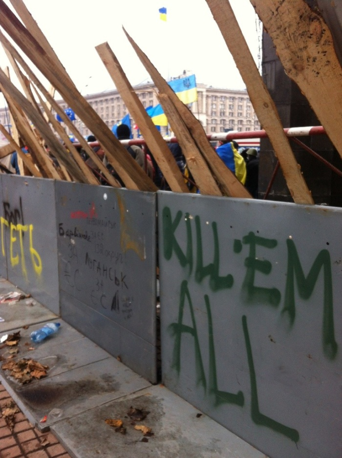 Graffiti on a barricade that was set up in the first week of December