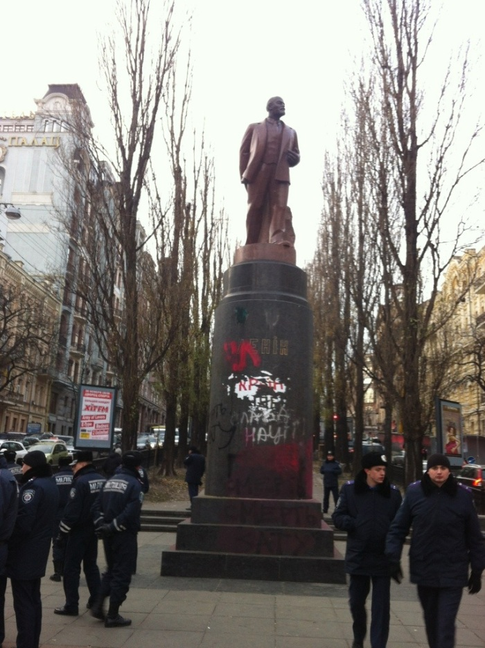 The statue earlier this week, being guarded by police