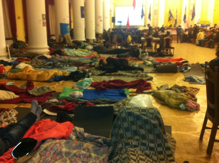 Protesters sleeping in City Hall, Kyiv, early last month