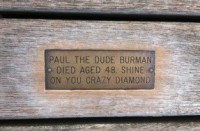 The only name I recognised. Brillo pad and cleaner in use on commemorative inscription on Penarth Pier.