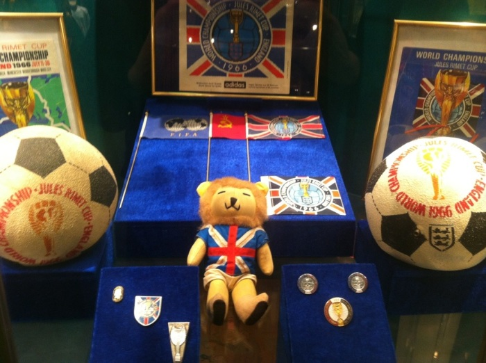 Memorabilia in the cabinet devoted to the 1966 World Cup in England