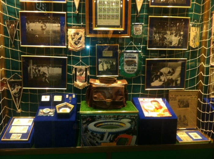 This cabinet is full of memorabilia from Pele's domestic career in Brazil