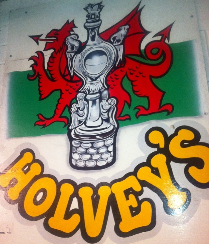 Possibly the only artwork tribute to the Welsh Cup in Wales - on the wall next to the terrace cafe