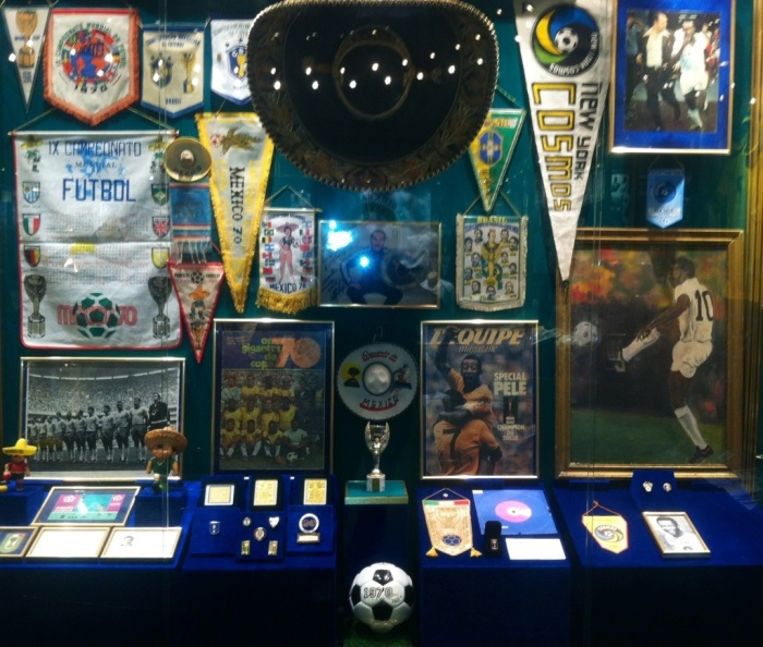 The cabinet containing the 1970 World Cup memorabilia from Mexico