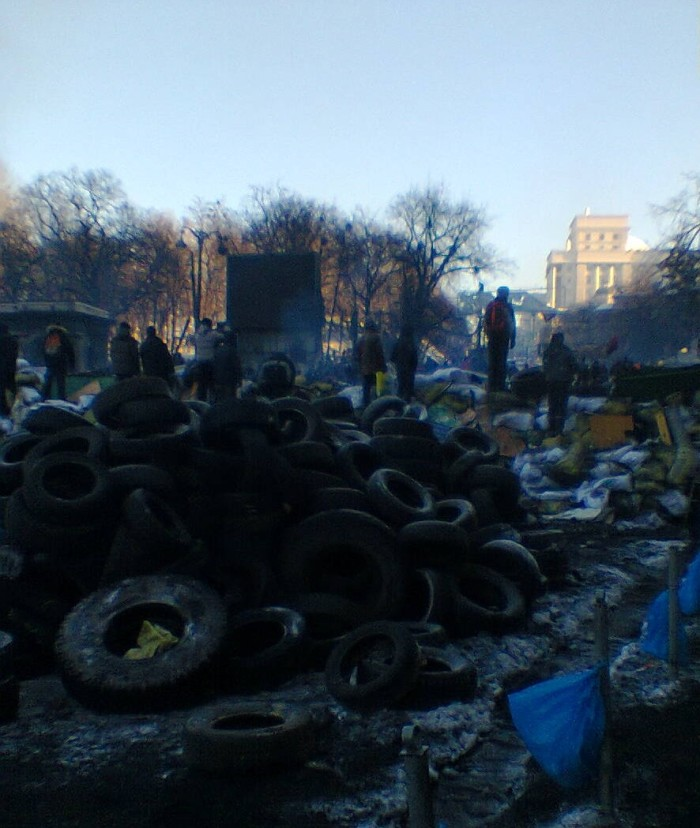 Tyres in the centre of Kyiv today