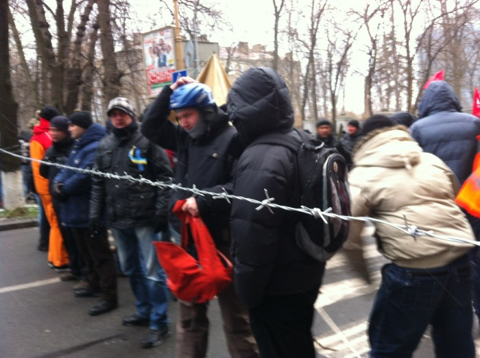 Barbed wire strung across Shovkovichna in a  bid to stop government vehicles using the road