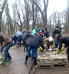Time to clear up. Protesters get to work in Marinski Park, which was the main base of the pro-government supporters, who have all left