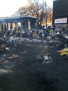 The scene today near the Dynamo Kiev Lobanovski stadium