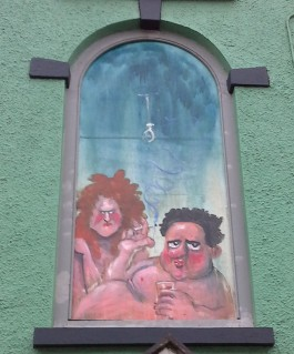 Martin Rowsons cartoon of Dylan and Caitlin Thomas, Laugharne