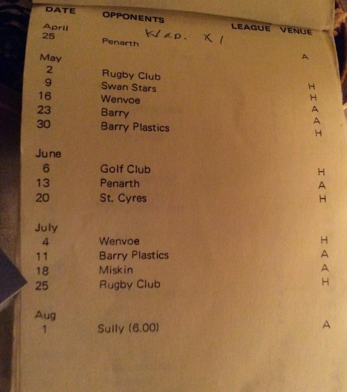 Dinas Powys CC 1979 fixture list