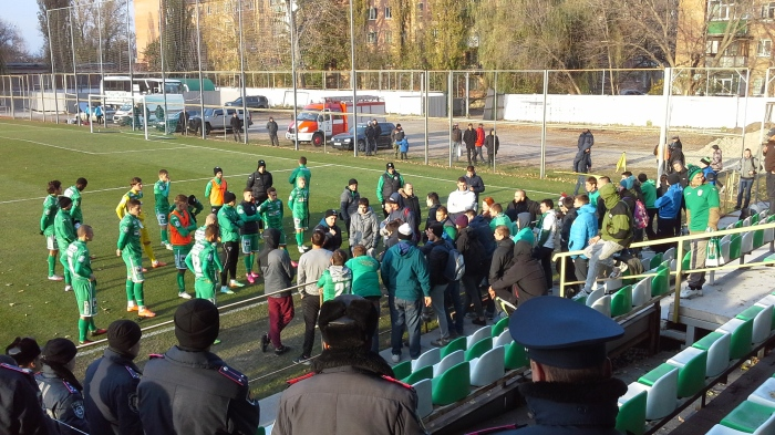Karpaty Lvivi fans at FC Poltava talking to Oleg Dulub